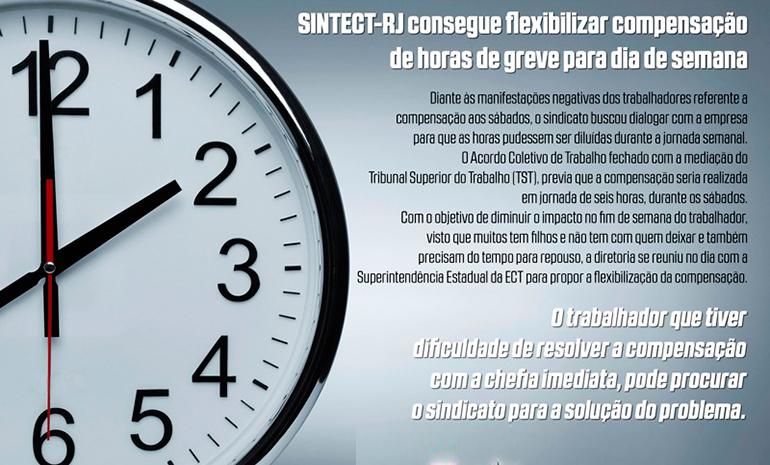 SINTECT-RJ consegue flexibilizar compensação de horas de greve para dia de semana
