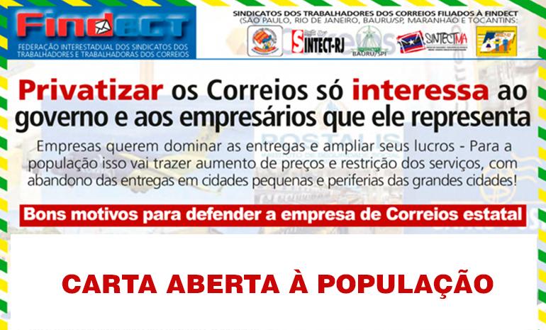 Carta Aberta à População: Privatizar os Correios só interessa ao empresário que comprar