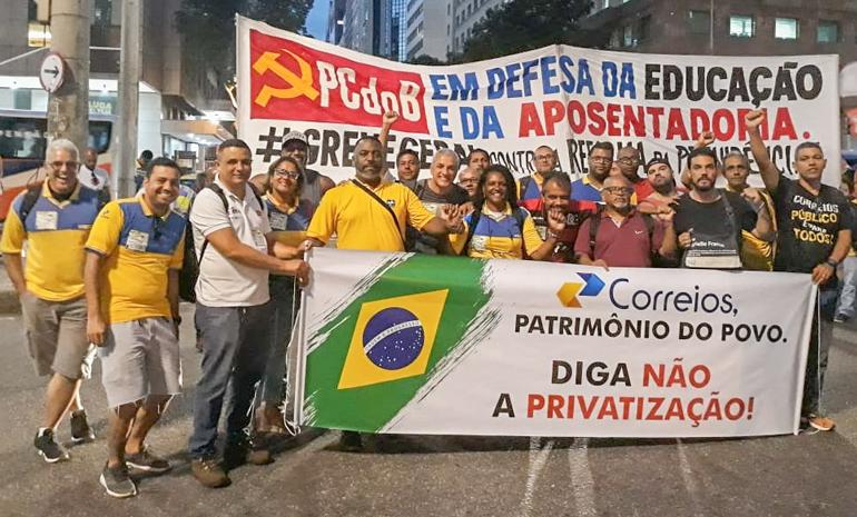 SINTECT-RJ participa de grande ato em defesa da soberania e contra a privatização de estatais