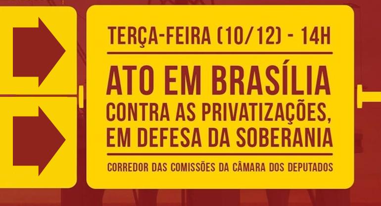 SINTECT-RJ e FINDECT participam de mobilização contra as privatizações das estatais