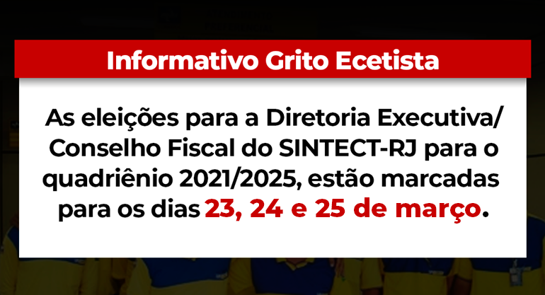 Boletim | Eleições Sintect-RJ em 23, 24 e 25 de Março